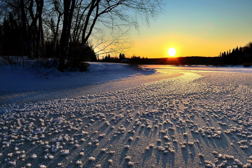 Frozen lake at dusk. Photo by Alain Audet for pixabay.