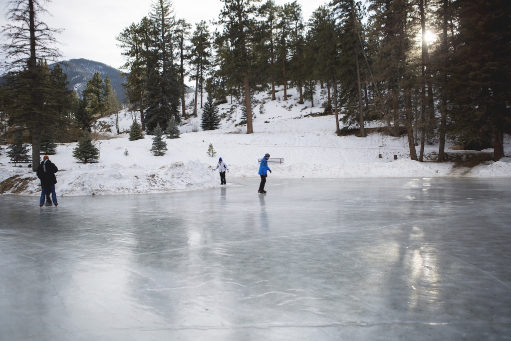 ice skating on a natural pond at YMCA of the Rockies, Estes Park, Colorado