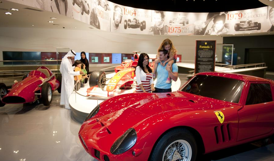 Family visiting Ferrari World in Abu Dhabi