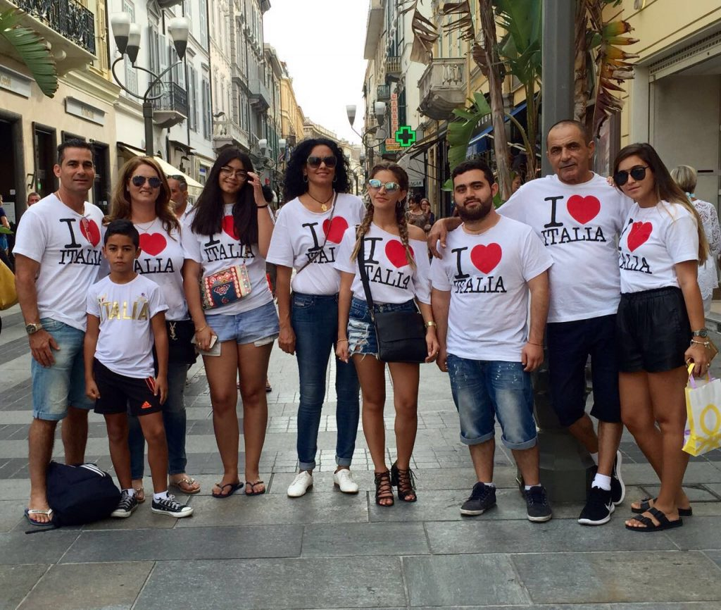 Family reunion in matching T-shirts in Italy