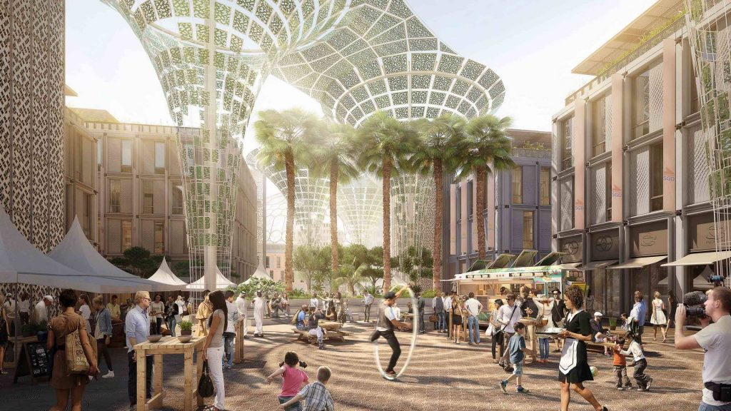 Rendering of plaza at Al Wasl Pavilion where the native Ghaf tree will be featured.