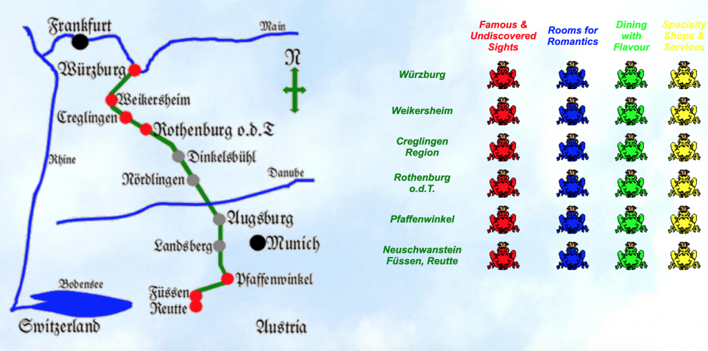 Map of Germany's Romantic Road from romanticroad.com