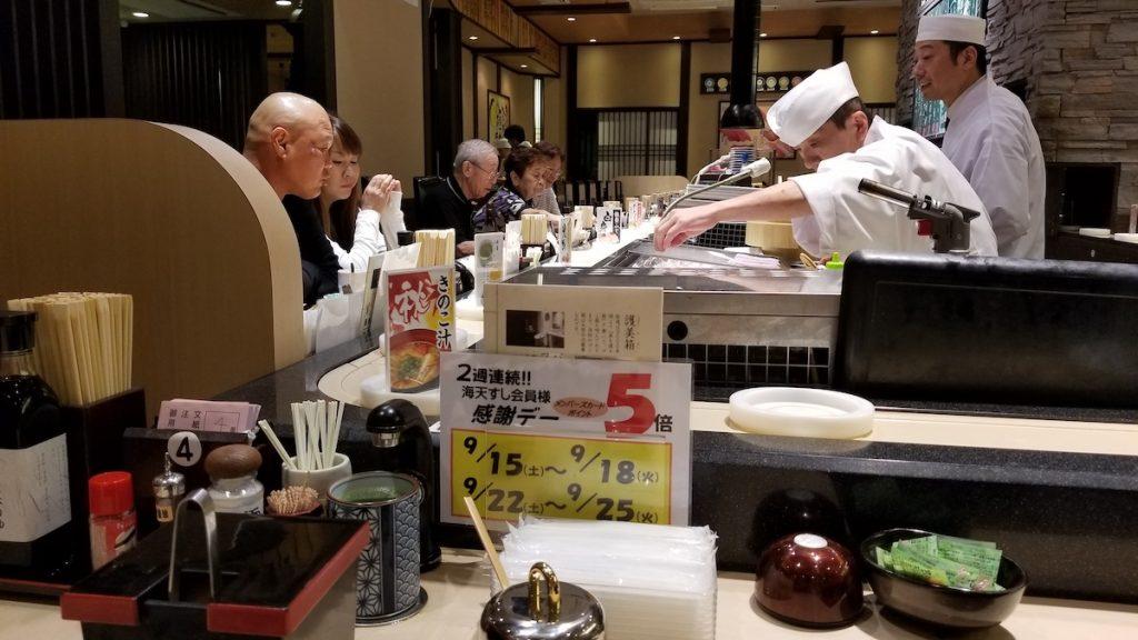 Conveyor belt sushi restaurant in Kanazawa.