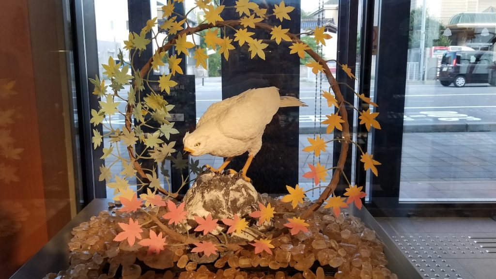 Bird and fall leaves are an edible sculpture at Kanazawa's Confection Museum.