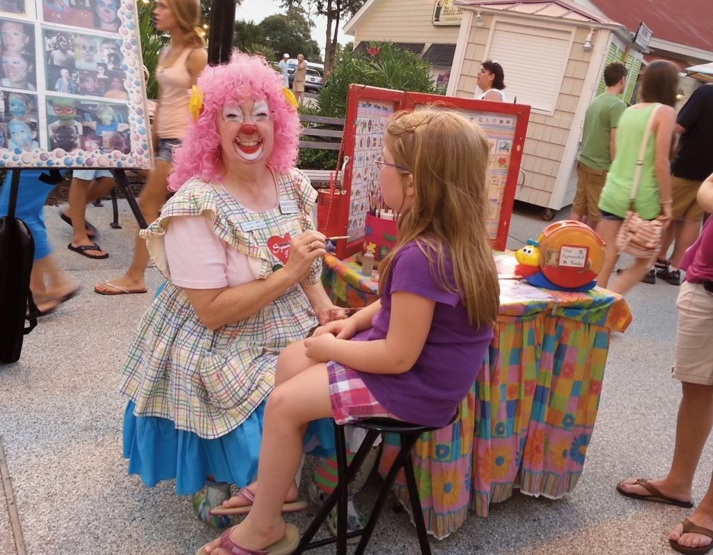 Face painting at Barefoot Landing Mall at Myrtle Beach