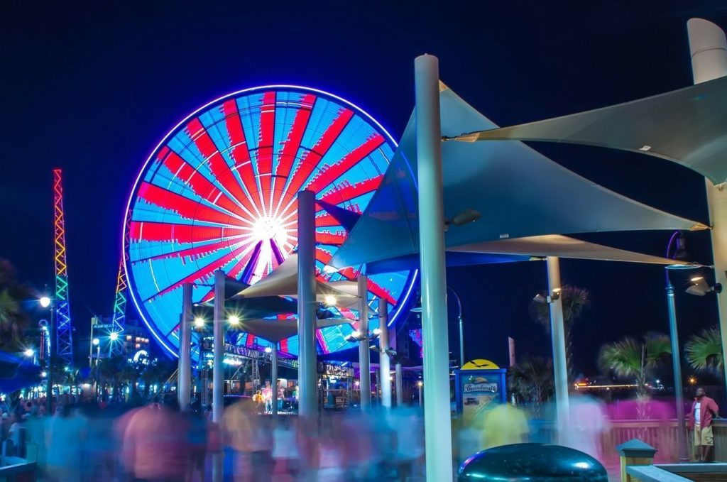Myrtle Beach boardwalk at night.