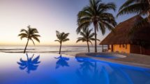 Beachfront pool of Mahekal Beach Resort, Playa del Carmen.