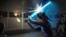 Light saber lessons with a training remote at Star Wars: Galactic Starcruiser at Walt Disney World.