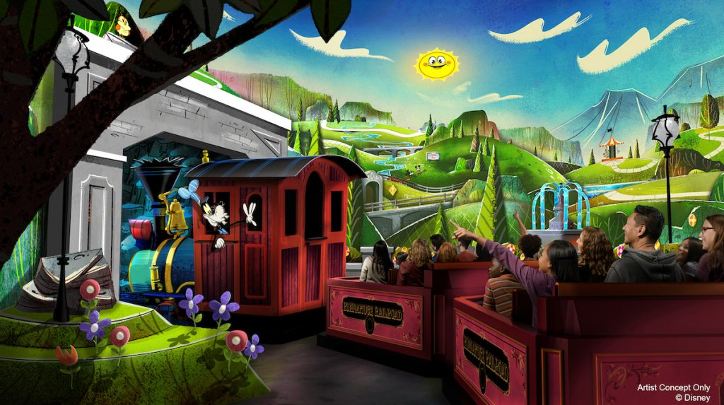 Artist rendering of new Mickey & Minnie's Runaway Railway ride at Walt Disney World, Orlando.