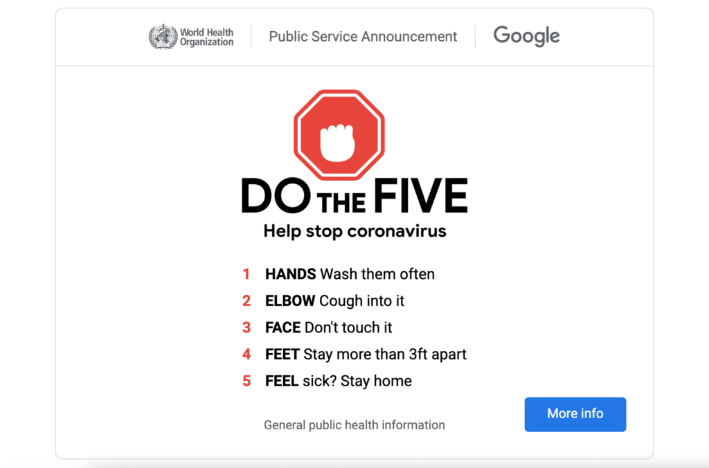 5 Coronavirus prevention tips from WHO