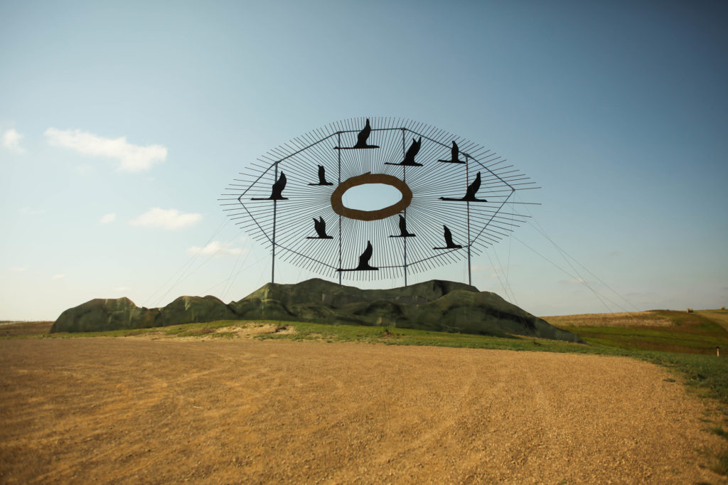 """Artwork """"Geese in Flight"""" seen on North Dakota's Enchanted Highway."""
