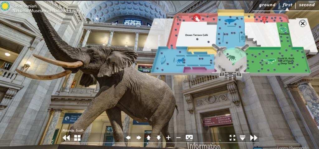 Screenshot of lobby from National Museum of Natural History on Smithsonian VR tour