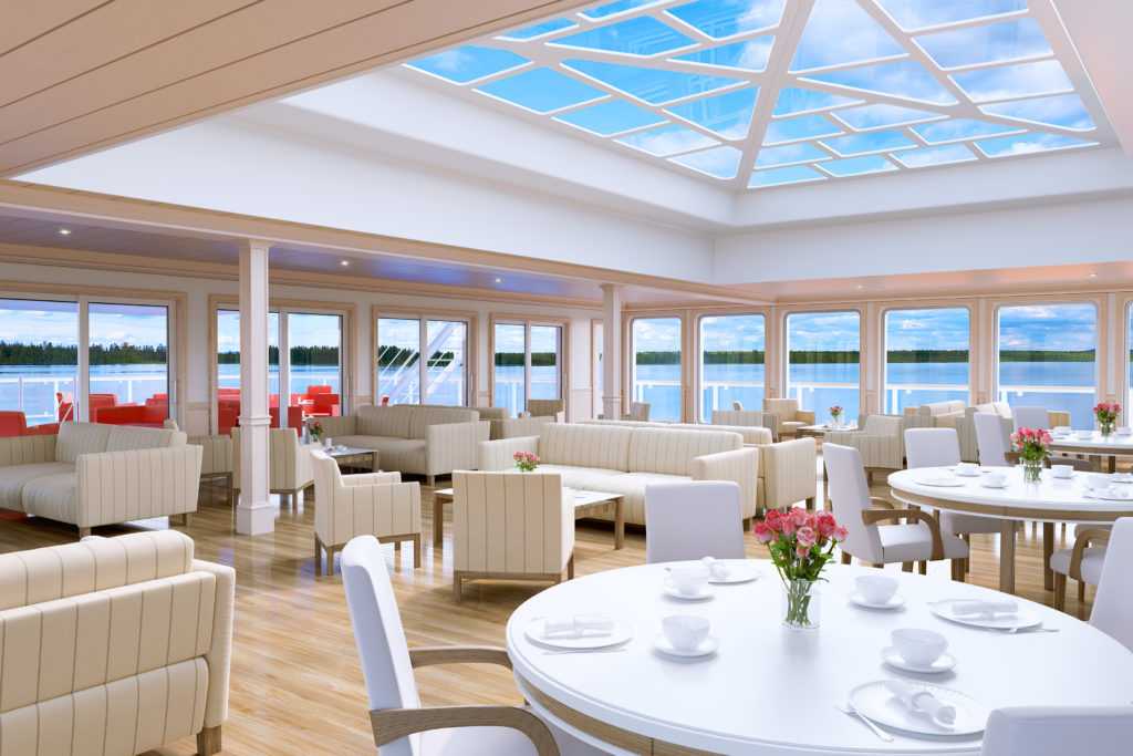 Panoramic views seen from the lounge of American Cruise Lines' modern riverboats.