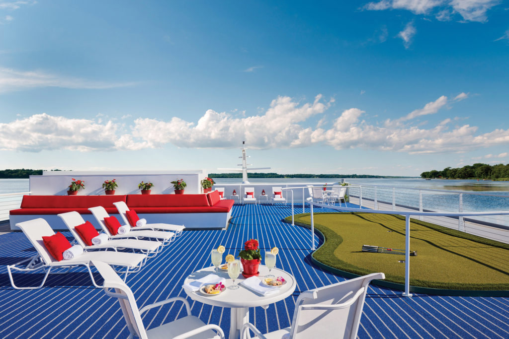 Upper level sundeck on American Cruise Lines ship.