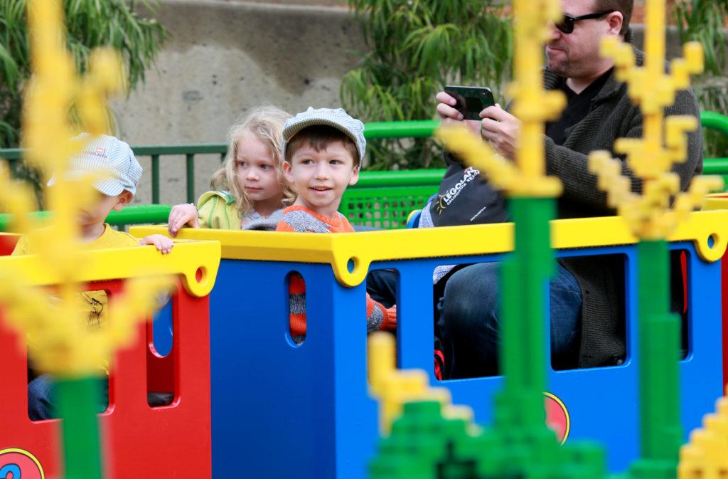 Express train goes through Legoland Duplo Playtown