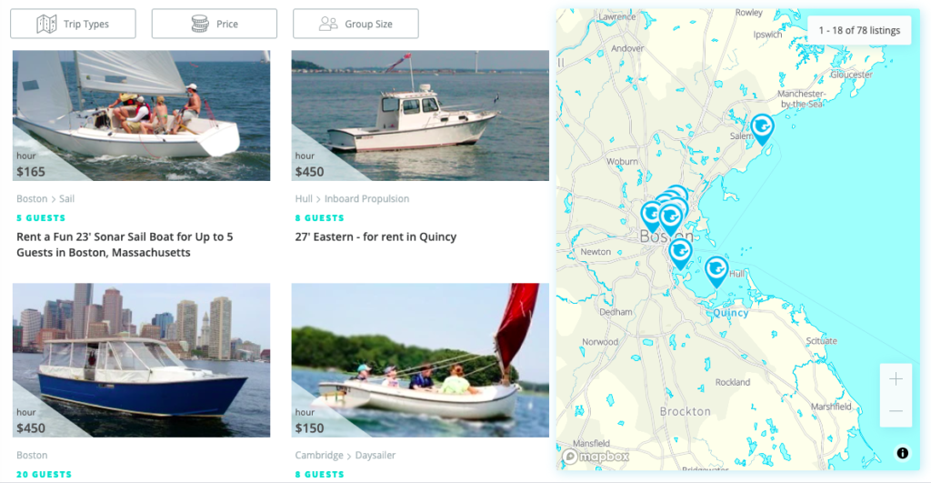 MyBoat app screenshot of Boston availble boats.