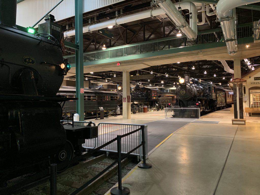 The main floor of the Railroad Museum of Pennsylvania