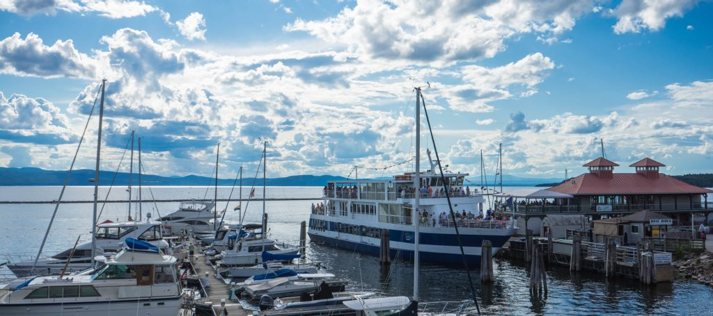 Harbor at Lake Champlain, Vermont with ferry.