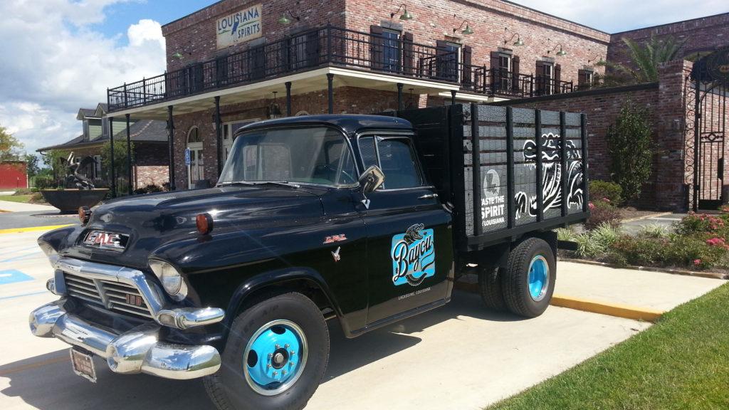 Bayou Rum Distillery vintage delivery truck.