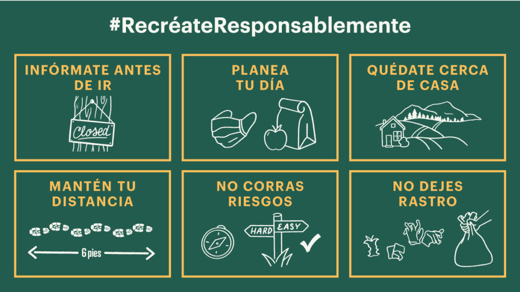 Poster of Recreate Responsibly rules in Spanish.