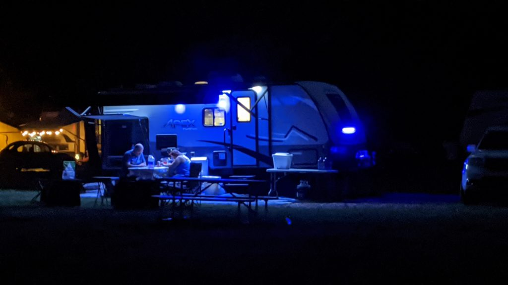 RVs are the center of activity at night