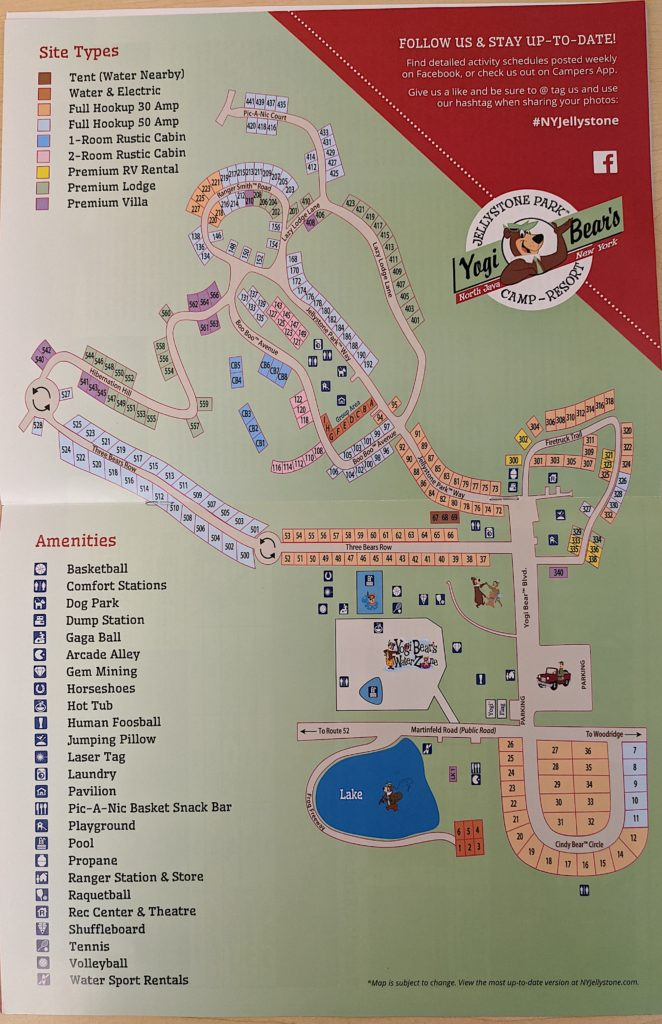 Map of Jellystone Park at Birchwood Acres, The Catskills, New York