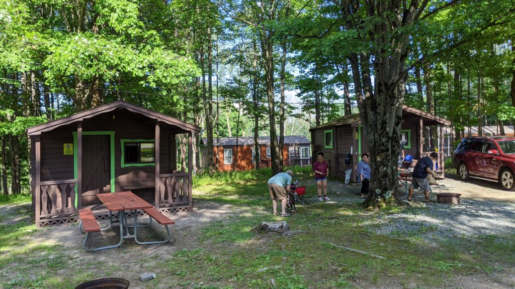 rustic cabins at Jellystone Park at Birchwood Acres in the Catskills