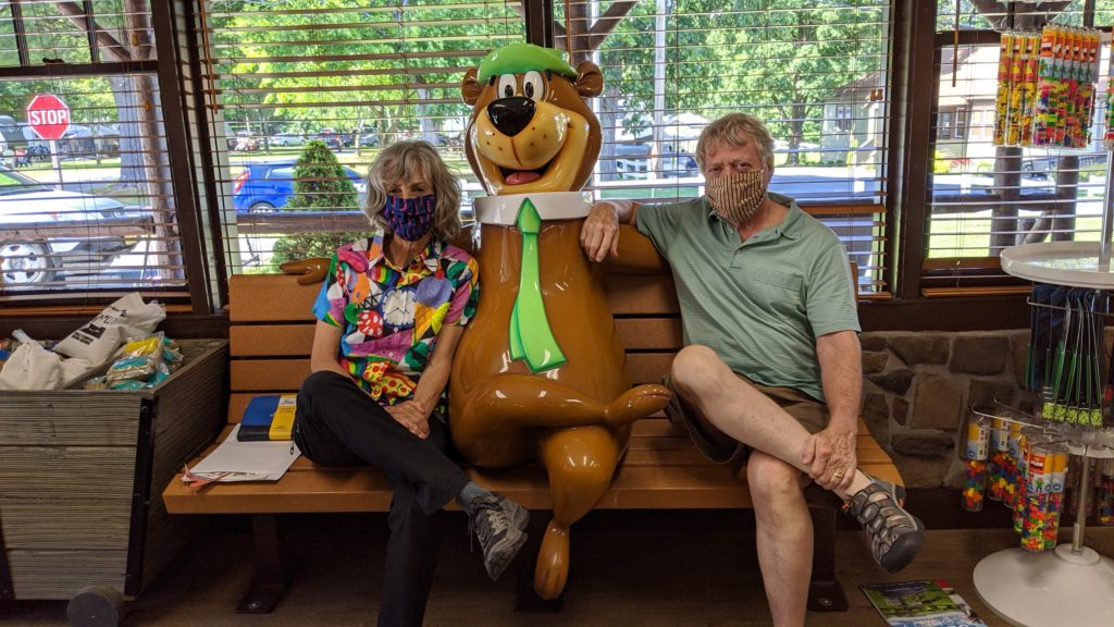 Yogi Bear greets everyone at check-in at Jellystone Park Camp-Resort.