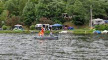 Family fishing on Keen Lake, Pennsylvania