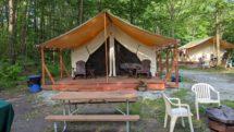Glamping tent area at Keen Lake Camping & Cottage Resort
