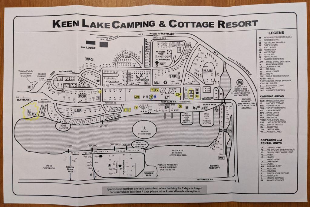 Map of Keen Lake Camping & Cottage Resort, Poconos, Pennsylvania