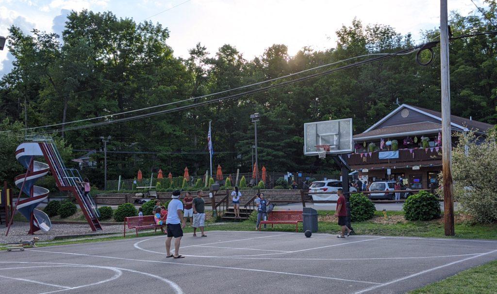 Ball court at Keen Lake Camping Resort's lakefront village.