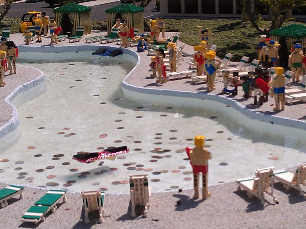 The Miniland lazy river and pool at Legoland California