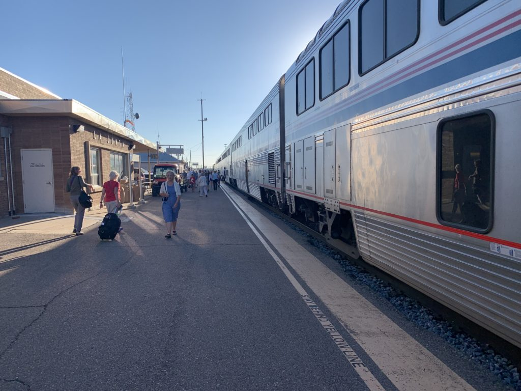 Bi-level train waits at Amtrak station in South Los Angeles