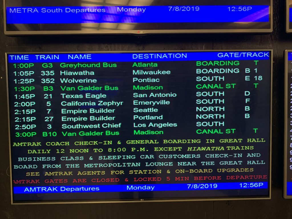 Time board at New Orleans Union Station