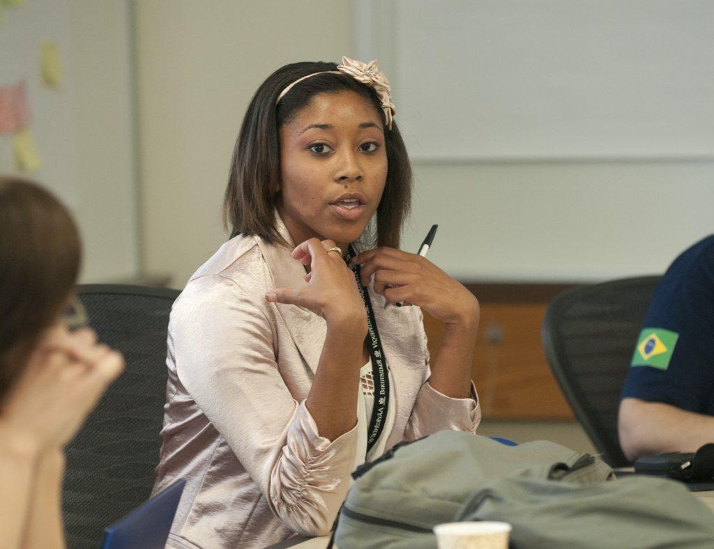 College student in a seminar class.