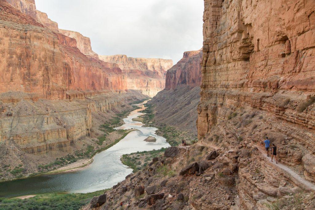 Aerial of Colorado River seen flowing through Grand Canyon