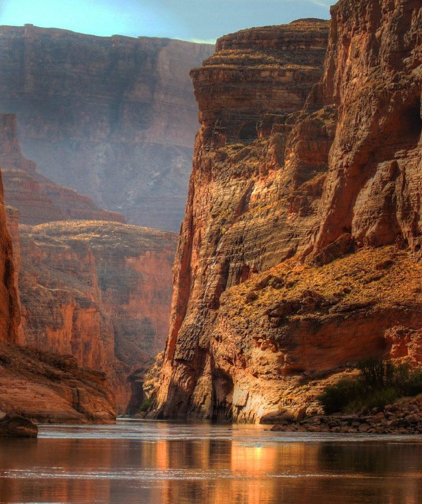 Colorado River and the Grand Canyon at dusk