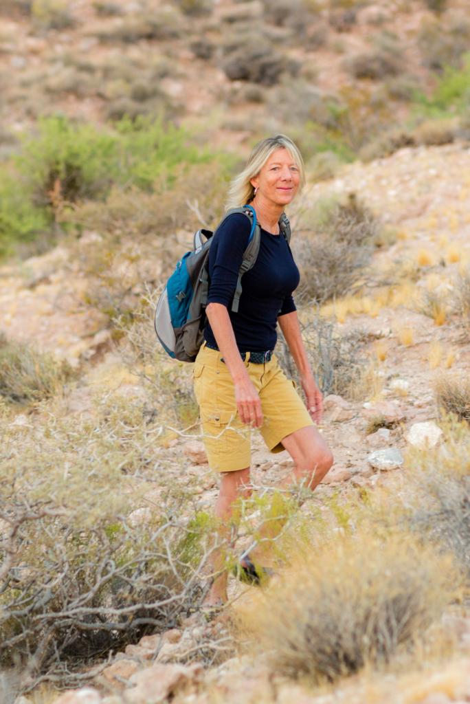 Author Deborah Hall taking a hike near Las Vegas' Downtown Strip.