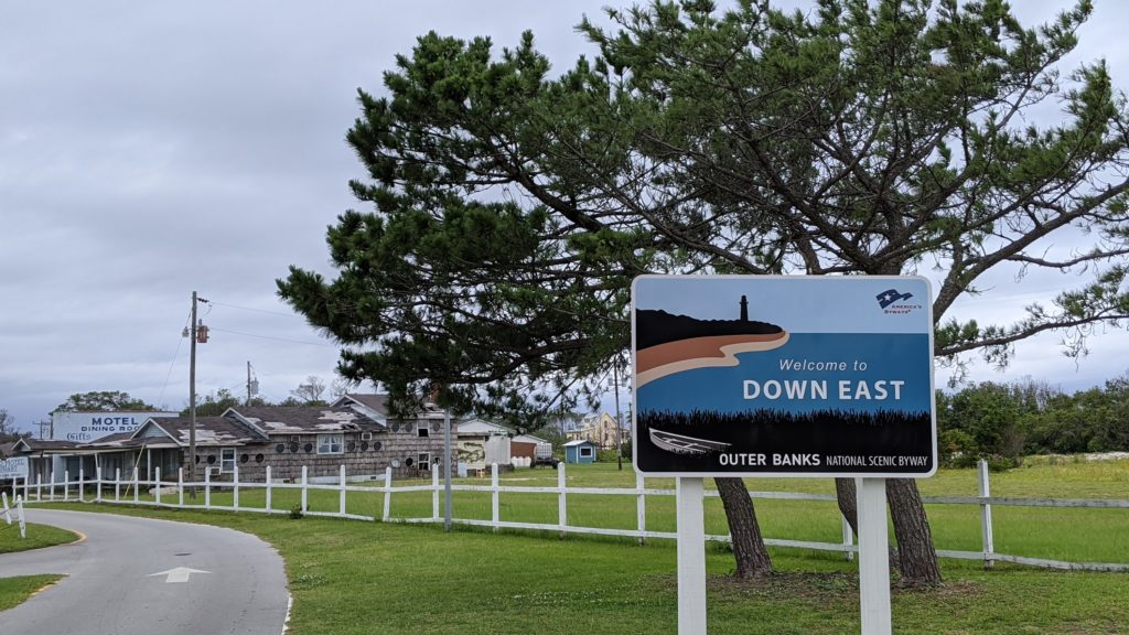Down East sign on Outer Bank Scenic Byway