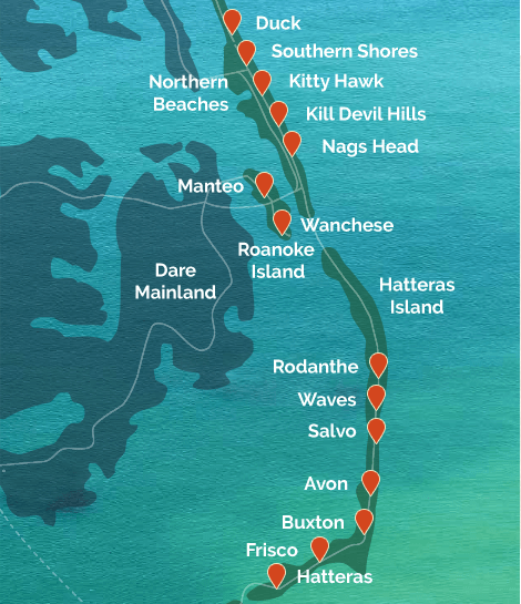 map of Outer Banks towns