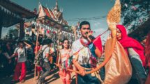 Traditional instruments and musicians parade for Khmer New Year