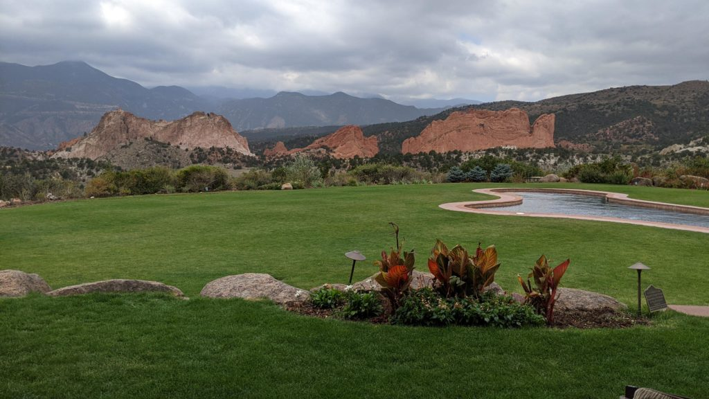 3 main peaks of Garden of the Gods National Monument: Gateway, Lyons and Kissing Camels seen from resort.