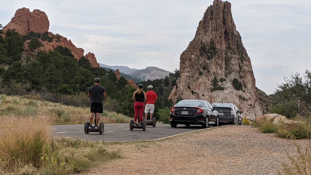 Segway tour of Garden of the Gods with Gateway Rock ahead.