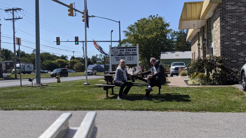 Lunch outside Goose Brothers Ice Cream, Shippensburg, Pennsylvania