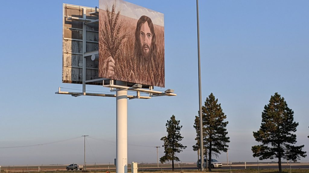 Wheat Jesus billboard in Colby, Kansas
