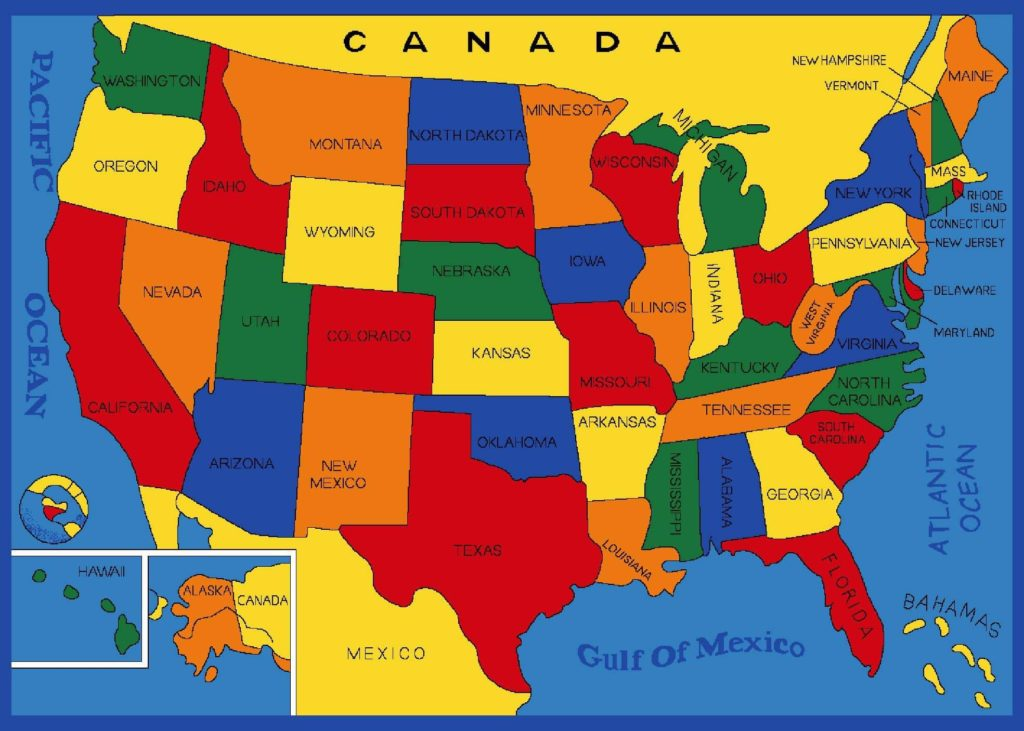 Kids version of USA map.