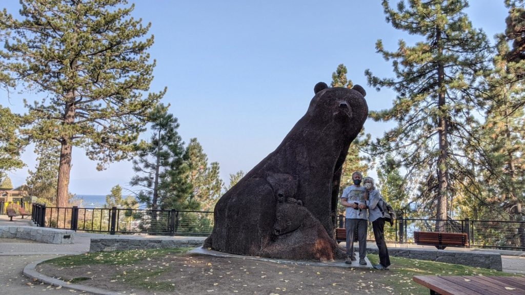 "Bear scuplture ""Ursa Mater"" made of pennies in Tahoe City, Lake Tahoe, California."