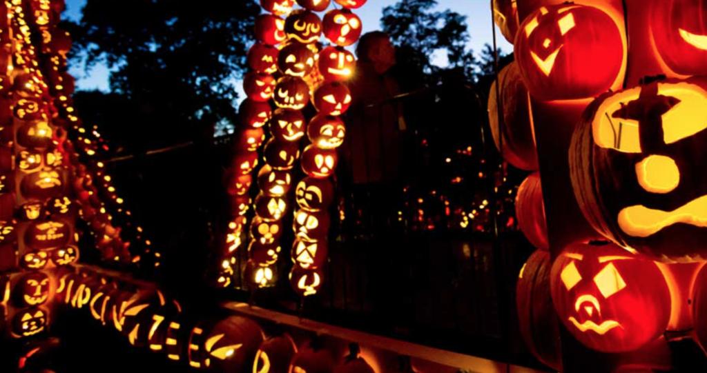 Carved pumpkins make a Pumpkin Zee Bridge at Cortland Manor's Blaze event.