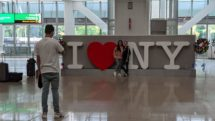 I Love NY selfie spot at LaGuardia Airport Terminal B